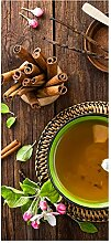 wandmotiv24 Türtapete Tasse Tee mit Kräutern