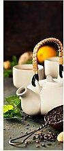 wandmotiv24 Türtapete Teekanne und Tasse Tee mit