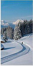 wandmotiv24 Türtapete Winterwanderung 100 x 200cm