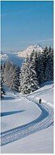 wandmotiv24 Türtapete Winterwanderung 70 x 200cm
