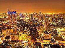 wandmotiv24 Vliestapete Goldene Nacht in Bangkok