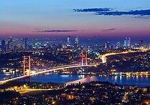 wandmotiv24 Vliestapete Istanbul bei Nacht