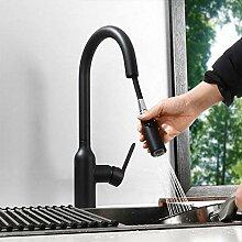 WANDOM Schwarz & Chrom Ausziehbarer Wasserhahn