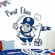 Wandora W1526 Wandtattoo Wunschname Pirat I dunkelgrau 60 x 50 cm I Jungs Kinderzimmer Kinder Aufkleber selbstklebend Spielzimmer Wandsticker