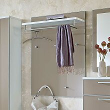 Wandpaneel Garderobe in Taupe Glas Weiß