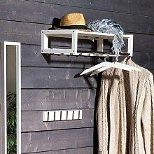 Wandpaneel Garderobe in Weiß Eiche Massivholz