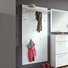 Wandpaneel Garderobe in Weiß Glas beschichtet 80 cm breit