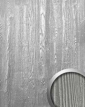 Wandpaneel Holz Optik WallFace 14808 WOOD Design Shop Blickfang Dekor Platte selbstklebende Tapete metall-grau weiß | 2,60 qm