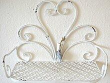 Wandregal Ablage Regal Metall weiß Landhaus antik shabby ca. 38cm Breite