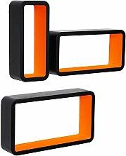 Wandregal Cubes MDF Holz Hängeregal Bücherregal CD DVD Aufbewahrung Regal Schwarz/Orange RG9270or