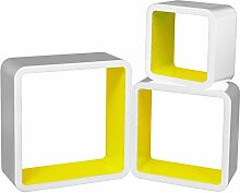 Wandregal Hängeregal Regal Würfelregal CD Cube Lounge 3xQuadrats Regal Holz Weiß-Gelb RG9236gb
