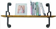 Wandregal-Regal / Bücherregal, aus Holz & Iron Clothing Store Display Ständer, Multi-Size Optional / Black Rack ( Farbe : 1 Tier , größe : 120cm )