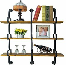 Wandregal-Regal / Bücherregal, aus Holz & Iron Clothing Store Display Ständer, Multi-Size Optional / Black Rack ( Farbe : 3 Tiers , größe : 90cm )
