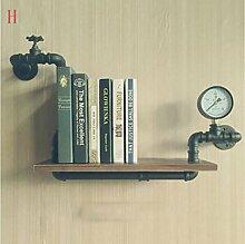 Wandregal Retro Industrielle Wasser Rohr Regal Wohnzimmer Wand Lagerregal Kreative Blumenständer Massivholz Bücherregal Wandhalterung Ablage