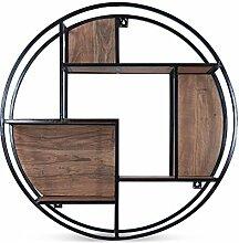 Wandregal rund Holz Metall Böden Akazienholz