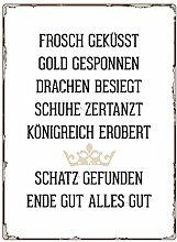 WANDSCHILD Metallschild FROSCH GEKÜSST Märchen