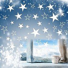 Wandschnörkel® 80 Sterne Aufkleber Weiß Fensteraufkleber/Schaufensteraufkleber Weihnachten Dekoration Fensterbilder Gestalten Sie Ihre Fenster mit diesen wunderschönen Stickern Größe 3,5 cm -15cm Durchmesser.
