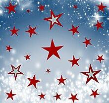 Wandschnörkel® 80 Sterne Dunkelrot Fensterbilder Weihnachten Schaufensteraufkleber Dekoration Gestalten Sie Ihre Fenster mit diesen wunderschönen Stickern Größe 3,5 cm -15cm Durchmesser.