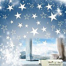 Wandschnörkel®**80 Stück Sterne in WEISS Aufkleber /Fensterbilder Schaufensteraufkleber weihnachten fensterdekoration gestalten Sie Ihre Fenster mit diesen wunderschönen Stickern XXL Größe3,5cm -15cm Durchmesser.