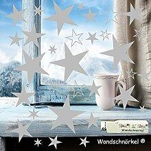 Wandschnörkel® 84 Sterne Silber Aufkleber
