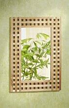 Wandspiegel, 50x70, Gitterdesign, Walnuss Holz Spiegel