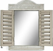 Wandspiegel B x H x T: 32x45x4cm Holz Grau Fenster Shabby Chic Vintage Landhausstil Spiegel