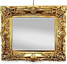 Wandspiegel Barock Gold 50x60cm mit Facettenschliff, Spiegel Antik Retro Vintage Look Handarbeit Massiv