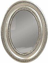 Wandspiegel Barock Oval Spiegel Holzrahmen Silber