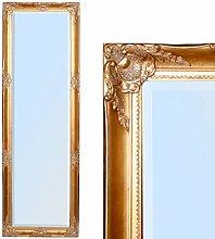 WANDSPIEGEL BAROCK SPIEGEL GOLD ANTIK DESIGN Leandra 170x55cm HOLZRAHMEN FACETTE