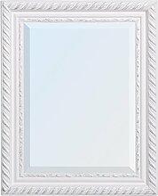 WANDSPIEGEL BAROCK Weiß-Silber ANTIK DESIGN SPIEGEL Stripe 50x40cm HOLZRAHMEN