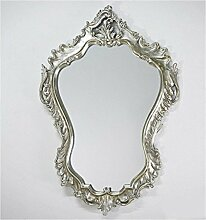 WANDSPIEGEL Barockspiegel Oval Vintage Look in Silber BAROCK ANTIK ROKOKO 90x60