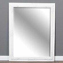 Wandspiegel BESSA barock 90x70cm Holzrahmen pur weiß Spiegel mit Facette