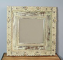 Wandspiegel creme quadratisch Holzrahmen Schnitzereien 53x53 cm