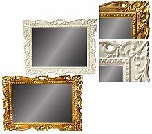 Wandspiegel Deko Spiegel Gold/Weiß Landhaus Landhausstil Antik (Weiß)