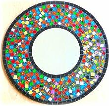 Wandspiegel Deko Spiegel Mosaik Einlegearbeit Handarbeit 40cm rund Holz #52a
