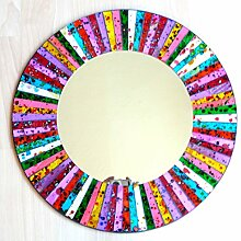 Wandspiegel Deko Spiegel Mosaik Einlegearbeit Handarbeit 50cm rund Holz #33b