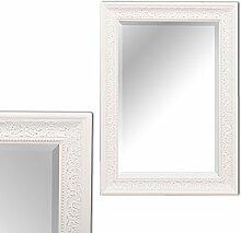 Wandspiegel FIORA barock pompös Spiegel 90x70cm weiß-silber Design Holzrahmen