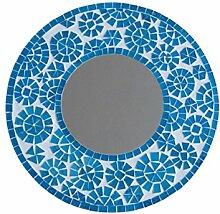 Wandspiegel Glasmosaik blau-weiss 40cm