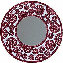 Wandspiegel Glasmosaik rot-weiss 40cm