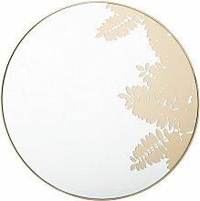 Wandspiegel Gold ø 56 cm Blattmuster Rund Modern