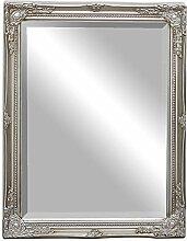 Wandspiegel GRACY barock 50x40 cm Spiegel antik silber Holzrahmen Facette
