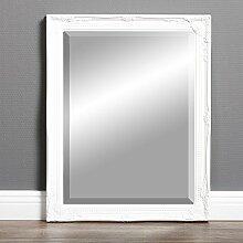 Wandspiegel GRACY barock weiß 50x40cm cm Spiegel Holzrahmen Facette antik