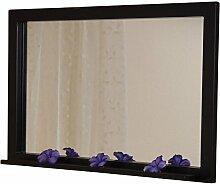 Wandspiegel H78, Spiegel, pulverbeschichtetes Metall, 80x50cm ~ schwarz