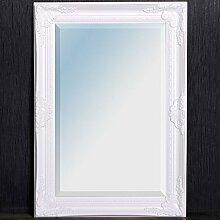 Wandspiegel LEANDOS barock pompös Spiegel 70x50cm Facette Holzrahmen pur-weiß