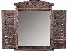 Wandspiegel massiv braun Spiegelfenster