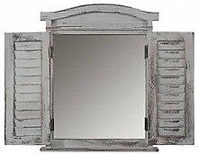 Wandspiegel massiv grau Spiegelfenster
