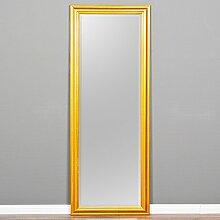 Wandspiegel ONDA 180x70cm Glanz Gold Design Spiegel Holzrahmen schlicht modern