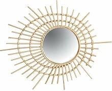 Wandspiegel, rund, Spiral-Rattan