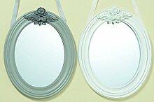 Wandspiegel Schminkspiegel Höhe 33 cm Spiegel Barock weiß oder grau (Grau)