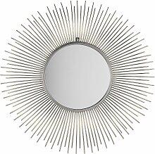 Wandspiegel Silber ø 80 cm Rund Mandala Glamour
